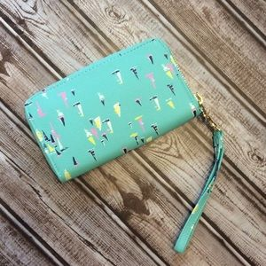 "Sailboat Wristlet Wallet Aqua 6.5"" x 4"" x .5"""